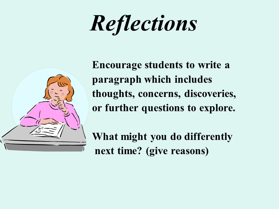Reflections Encourage students to write a paragraph which includes
