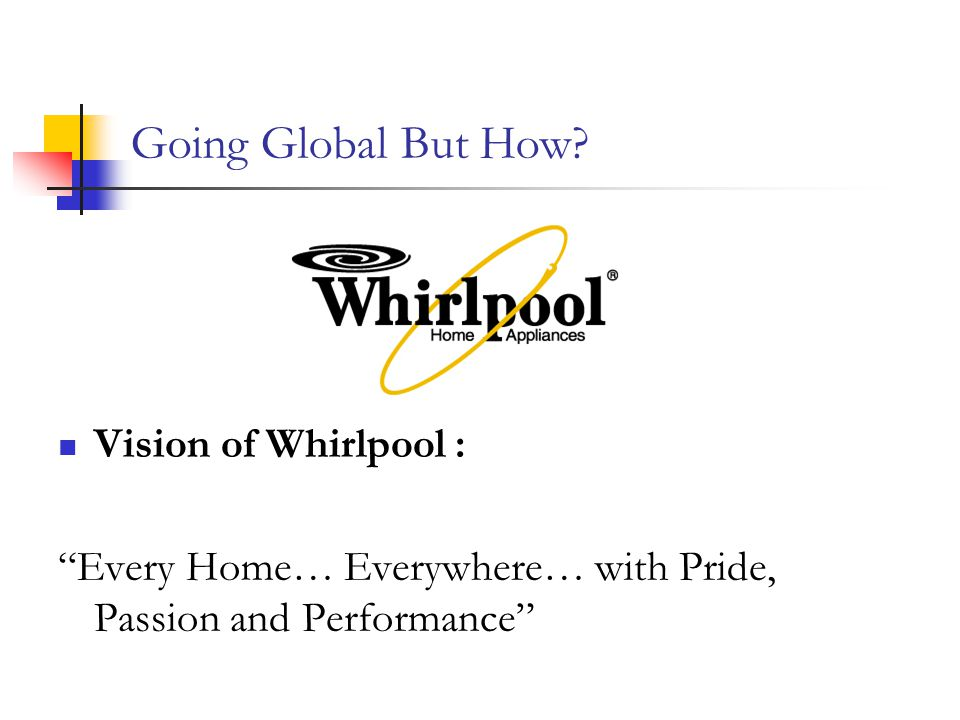 Going Global But How Vision of Whirlpool :