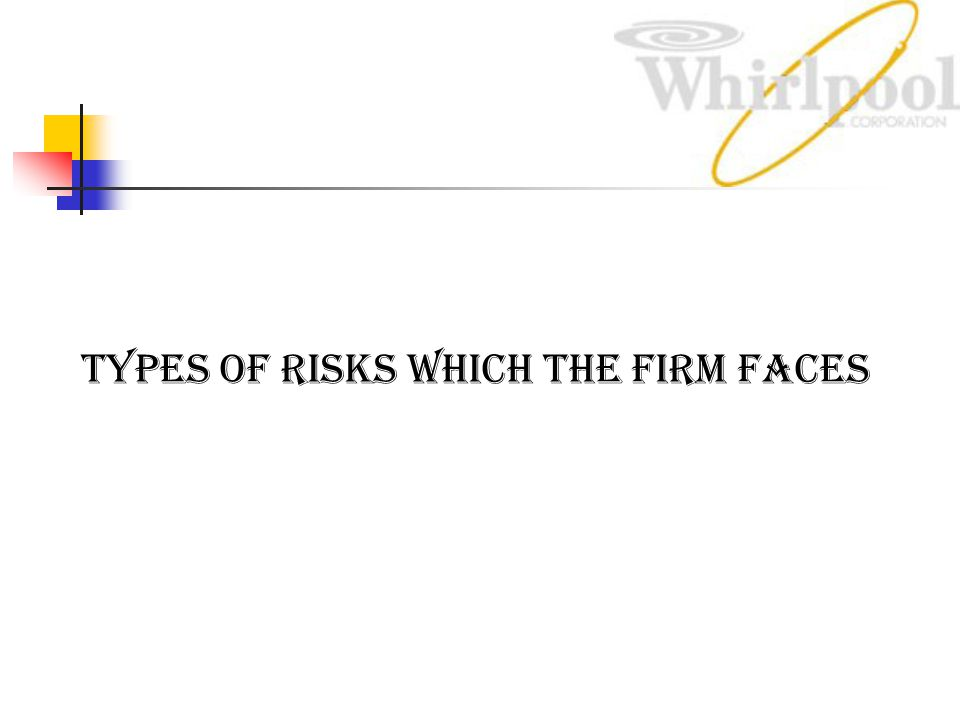 Types of risks which the firm faces