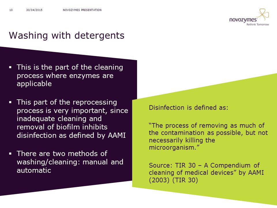 Washing with detergents