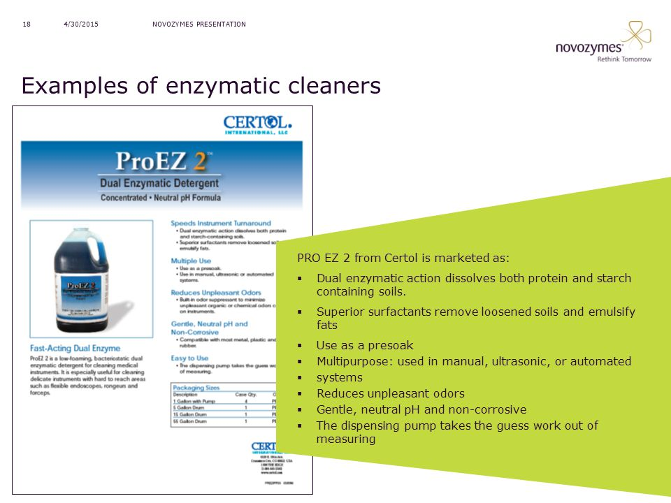 Examples of enzymatic cleaners