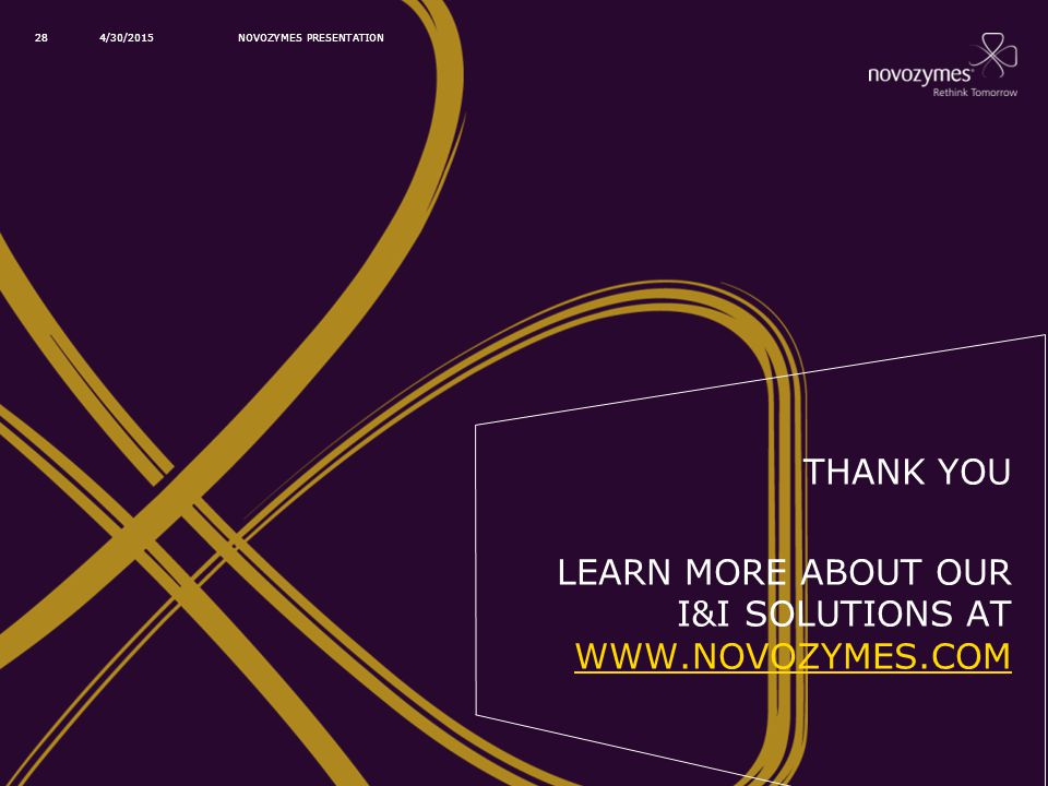 Learn more about our I&I solutions at www.novozymes.com