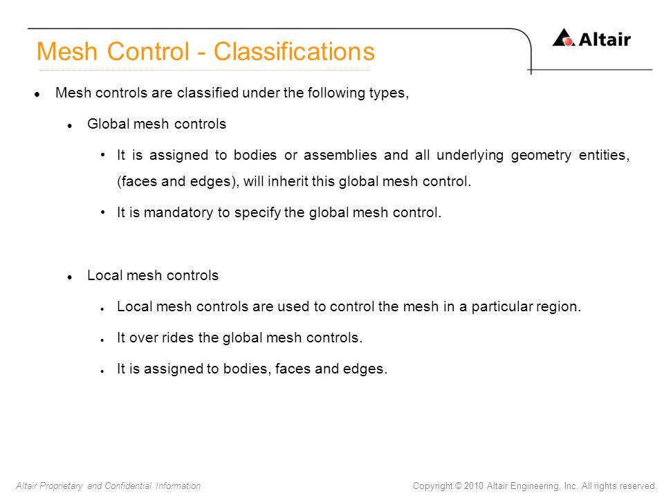 Mesh Control - Classifications