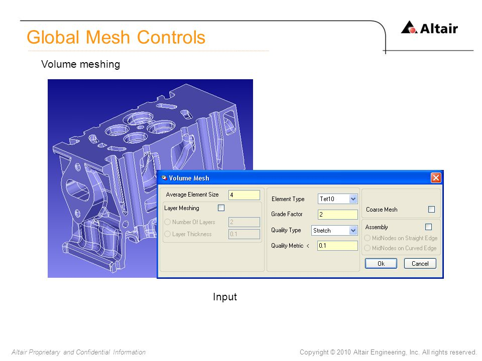 Global Mesh Controls Volume meshing Input