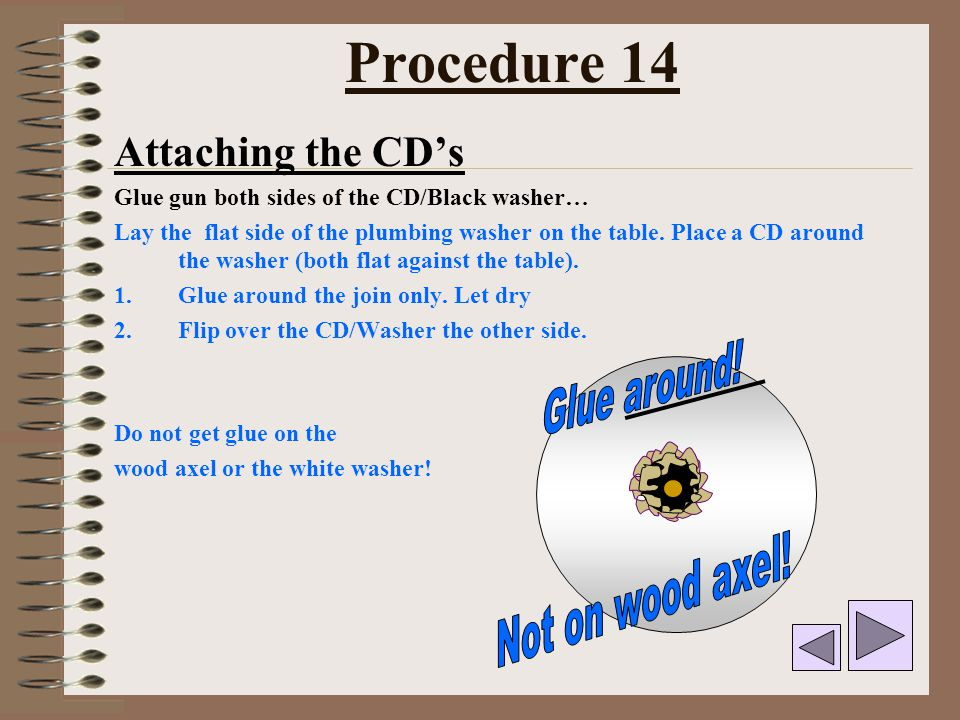 Procedure 14 Glue around! Not on wood axel! Attaching the CD's