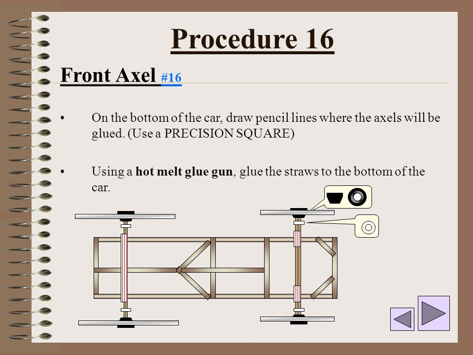 Procedure 16 Front Axel #16. On the bottom of the car, draw pencil lines where the axels will be glued. (Use a PRECISION SQUARE)