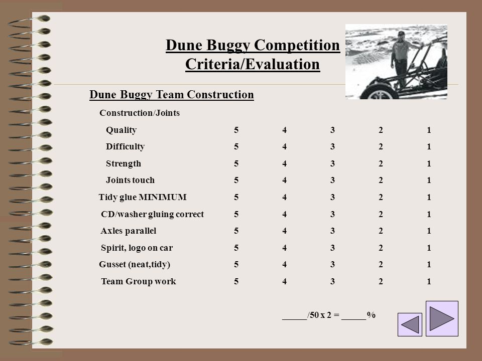 Dune Buggy Competition Criteria/Evaluation
