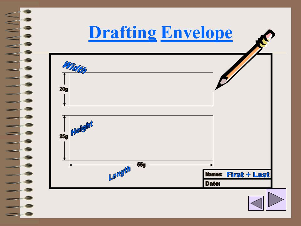Drafting Envelope Width Height Length First + Last 20g 25g 55g Names: