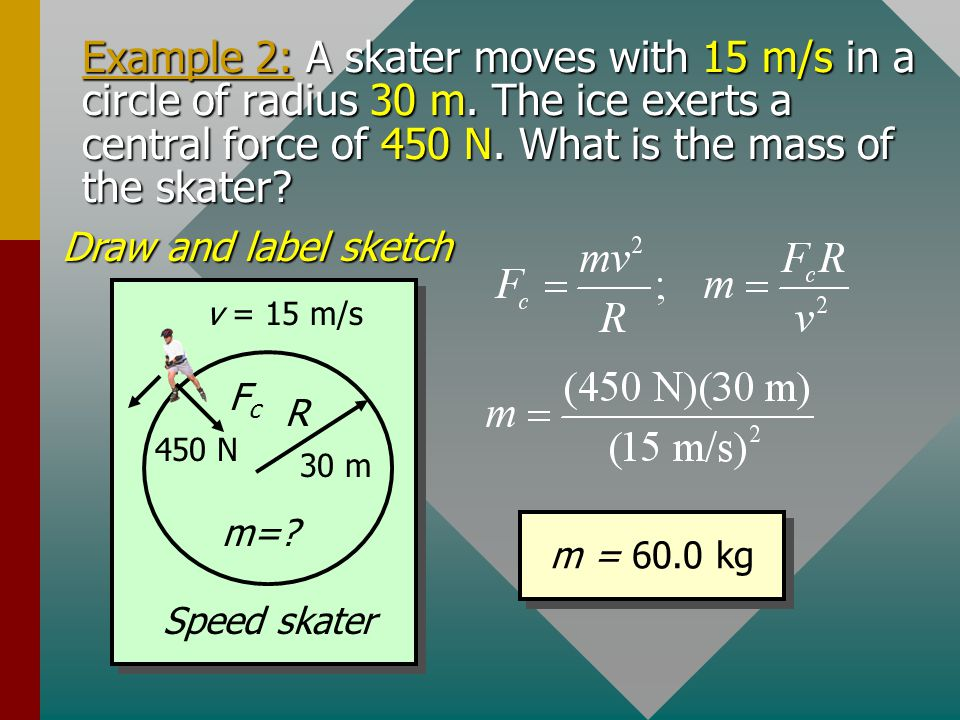 Example 2: A skater moves with 15 m/s in a circle of radius 30 m