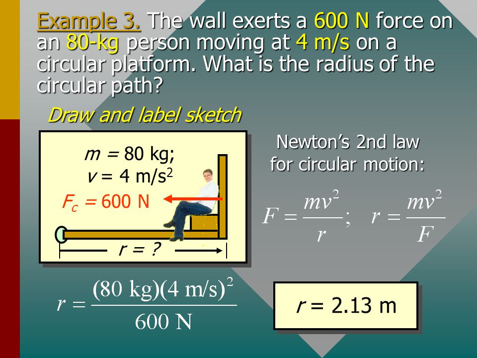 Newton's 2nd law for circular motion: