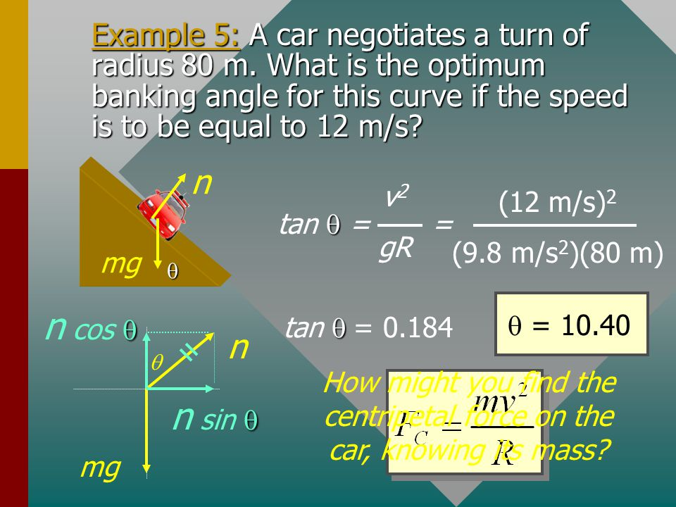 How might you find the centripetal force on the car, knowing its mass