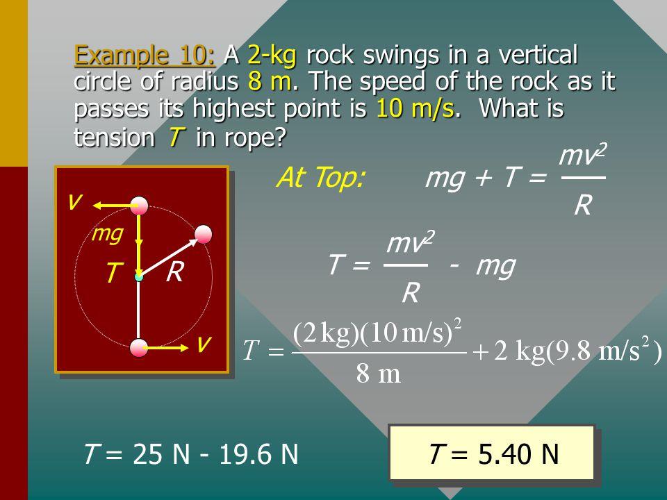 mg + T = mv2 R At Top: R v T T = - mg mv2 R T = 5.40 N