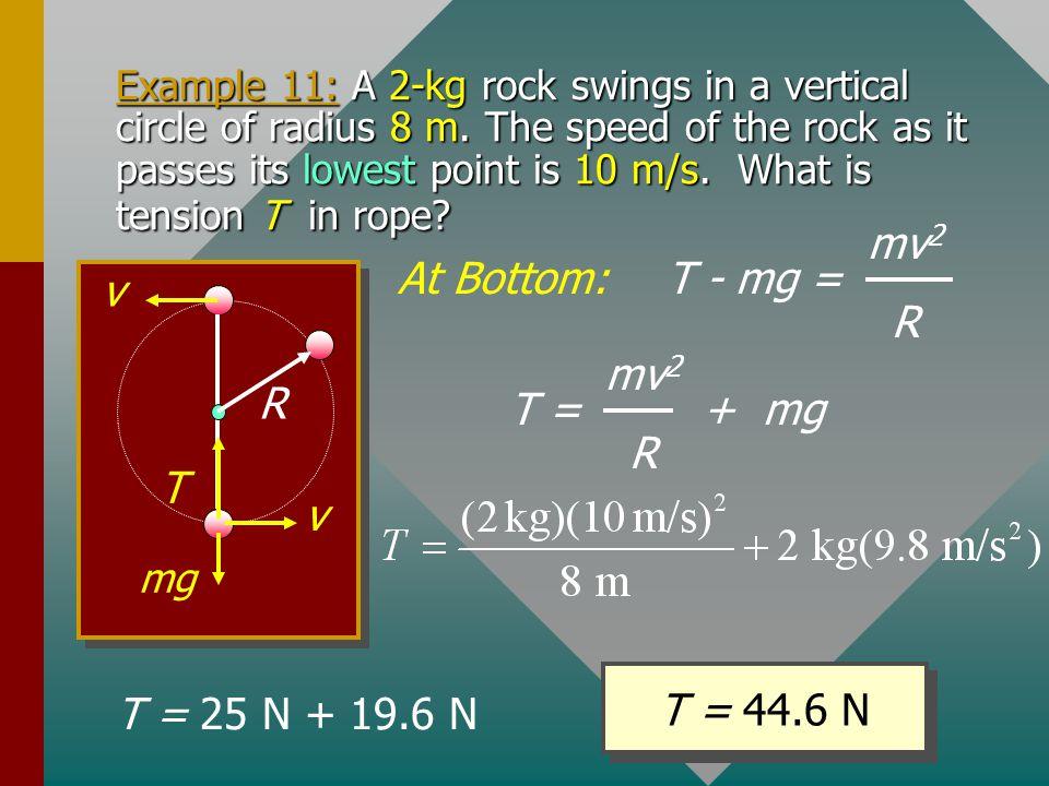 T - mg = mv2 R At Bottom: R v T T = + mg mv2 R T = 44.6 N