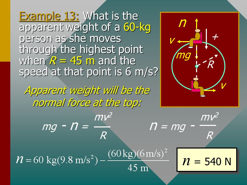 Apparent weight will be the normal force at the top: