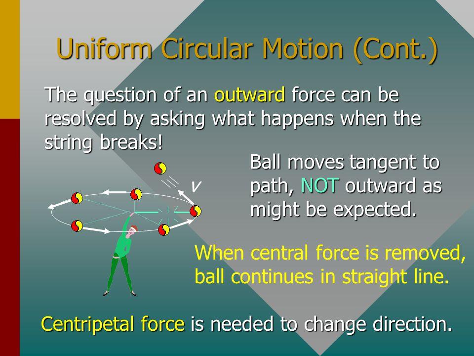 Uniform Circular Motion (Cont.)