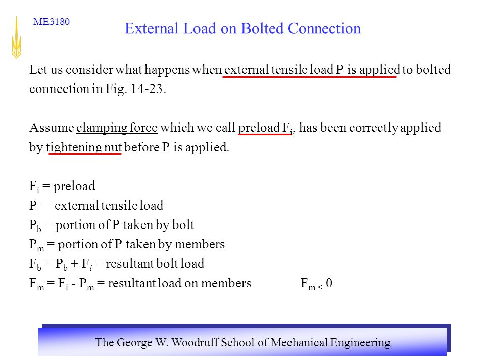 External Load on Bolted Connection