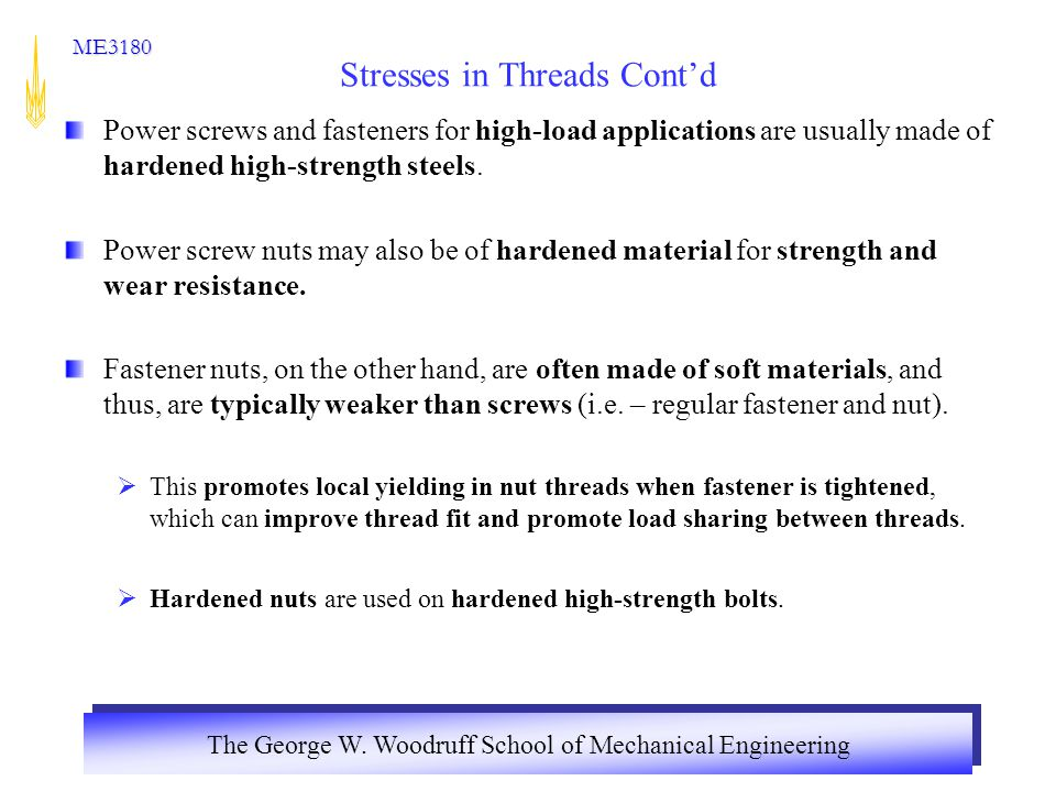 Stresses in Threads Cont'd