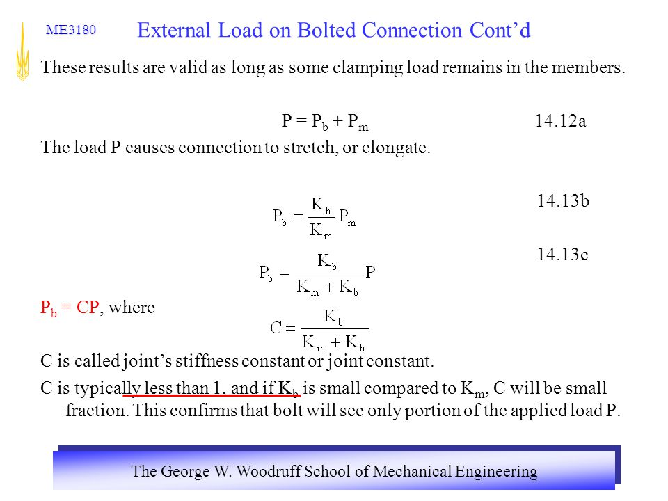 External Load on Bolted Connection Cont'd