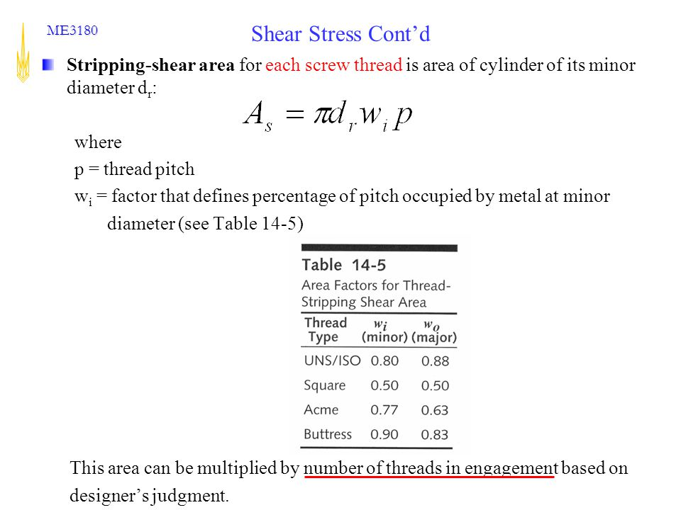 Shear Stress Cont'd Stripping-shear area for each screw thread is area of cylinder of its minor diameter dr: