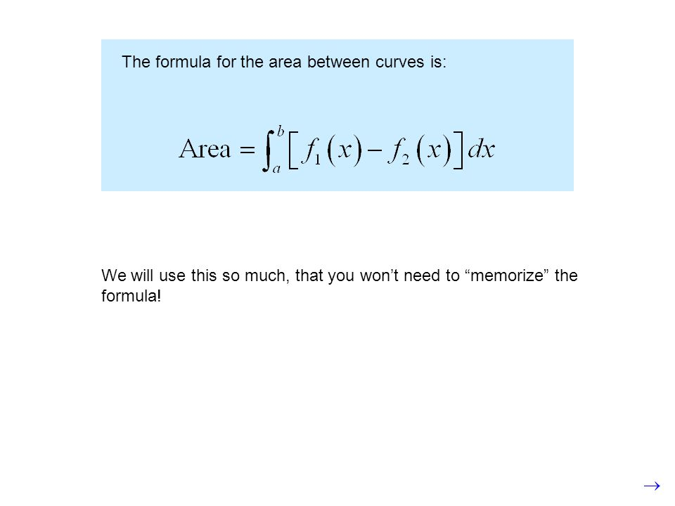 The formula for the area between curves is: