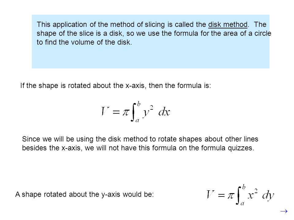 This application of the method of slicing is called the disk method