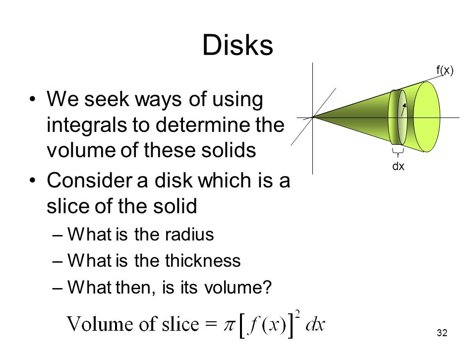 Disks f(x) We seek ways of using integrals to determine the volume of these solids. Consider a disk which is a slice of the solid.