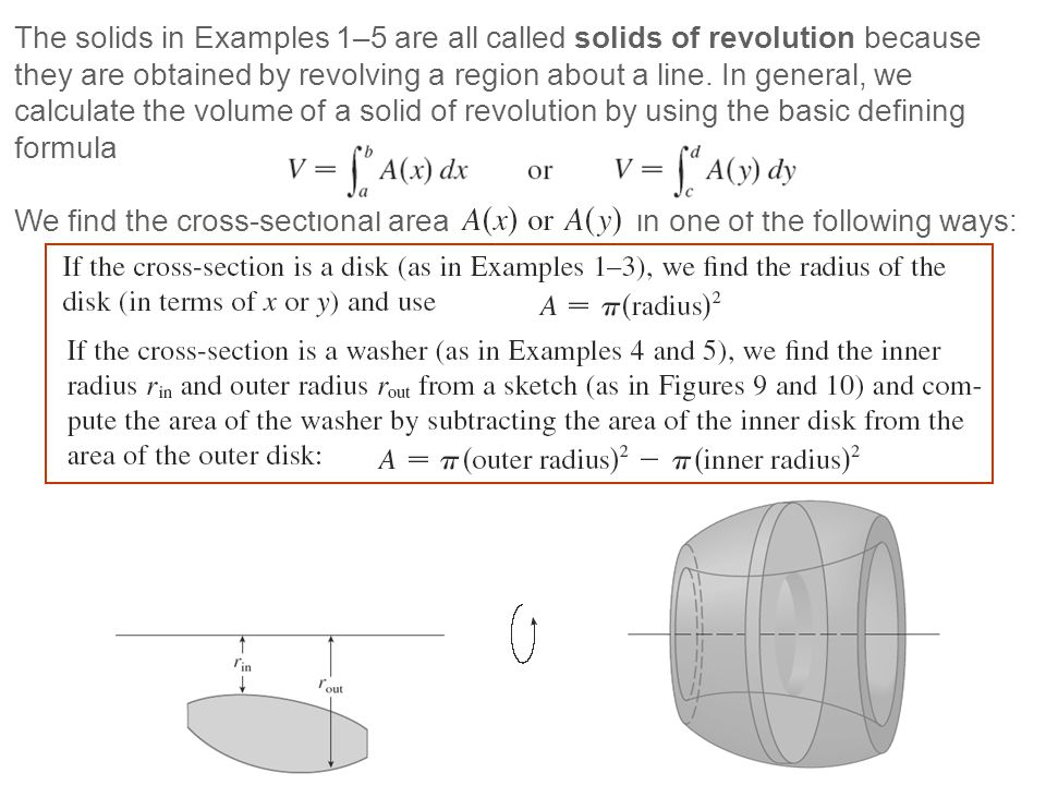 The solids in Examples 1–5 are all called solids of revolution because they are obtained by revolving a region about a line. In general, we calculate the volume of a solid of revolution by using the basic defining formula
