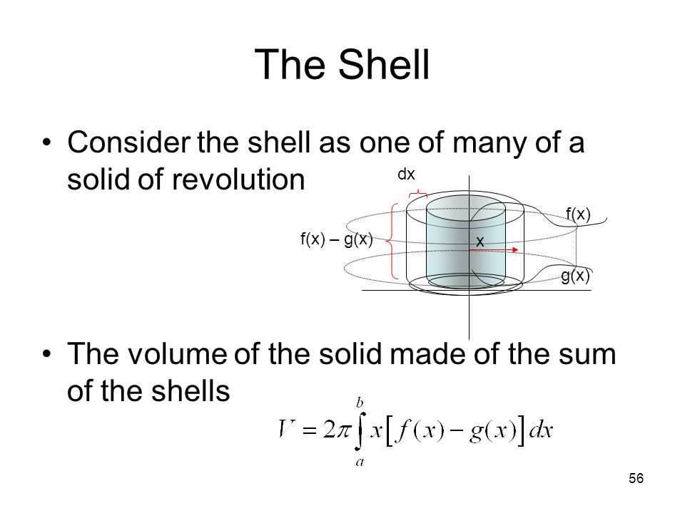 The Shell Consider the shell as one of many of a solid of revolution