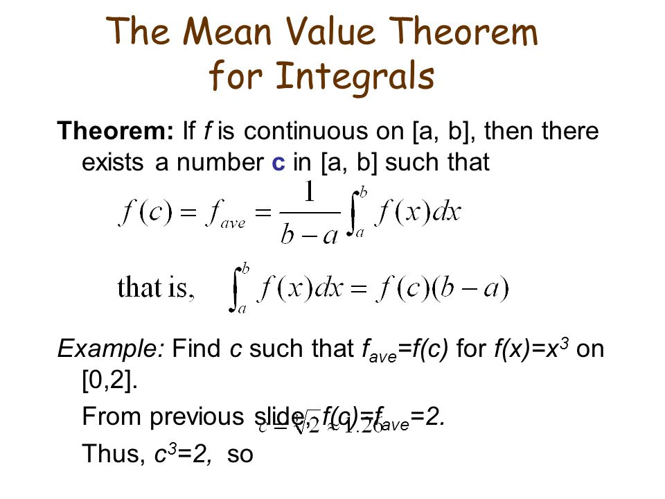 The Mean Value Theorem for Integrals
