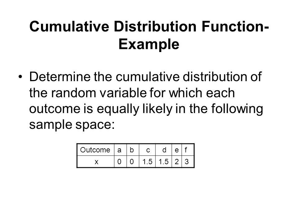 Cumulative Distribution Function-Example