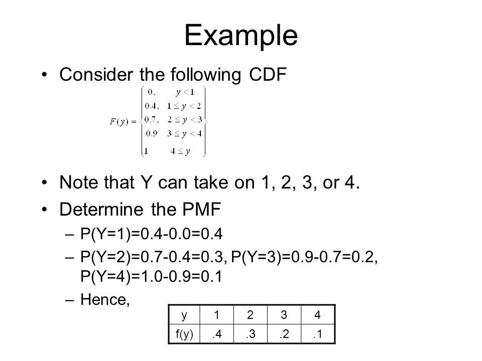 Example Consider the following CDF