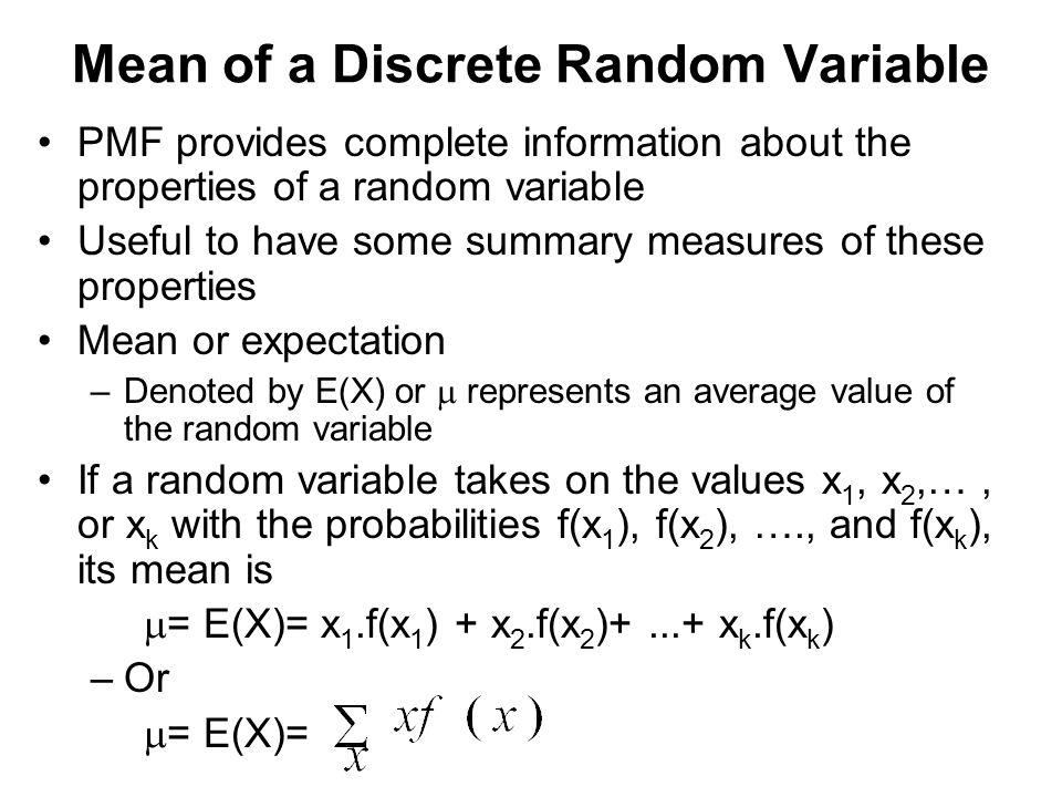 Mean of a Discrete Random Variable
