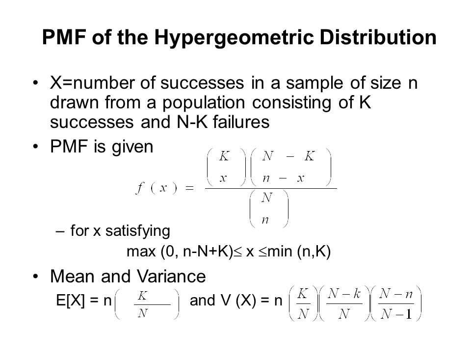 PMF of the Hypergeometric Distribution