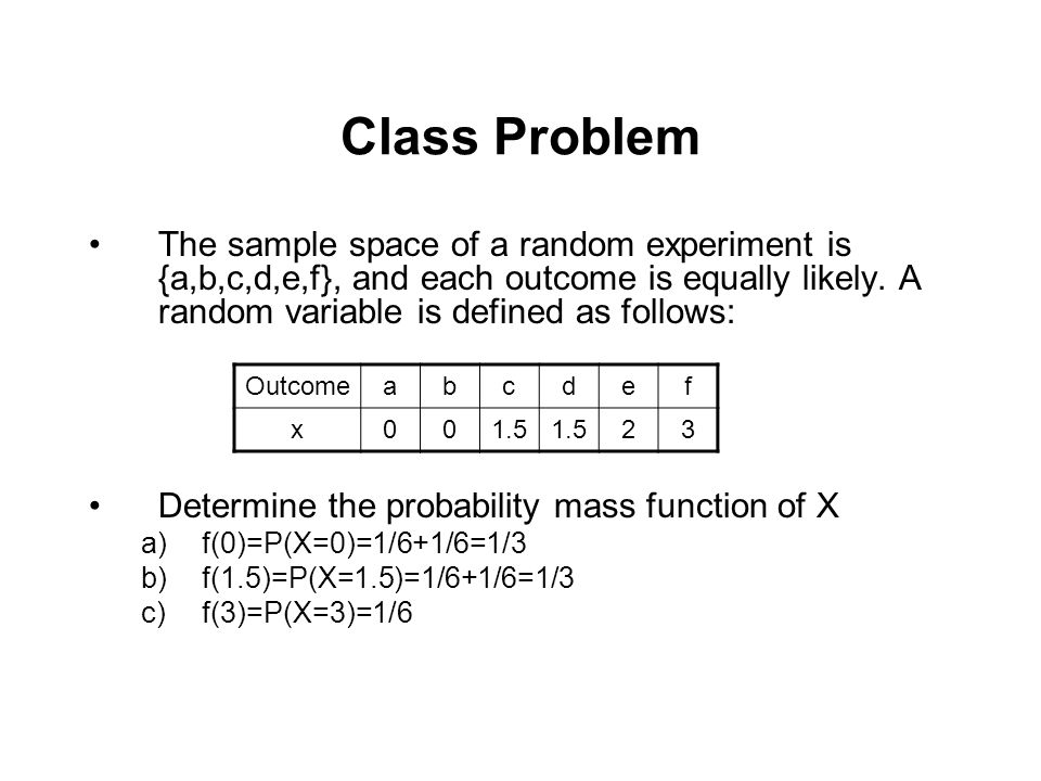 Class Problem The sample space of a random experiment is {a,b,c,d,e,f}, and each outcome is equally likely. A random variable is defined as follows: