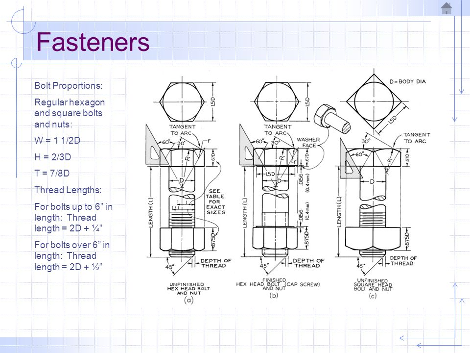 Fasteners Bolt Proportions: Regular hexagon and square bolts and nuts: