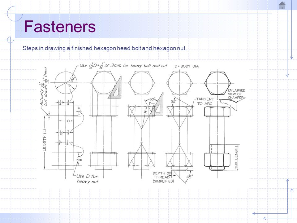 Fasteners Steps in drawing a finished hexagon head bolt and hexagon nut.