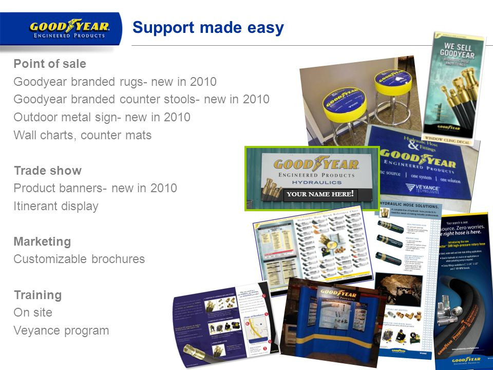 Support made easy Point of sale Goodyear branded rugs- new in 2010