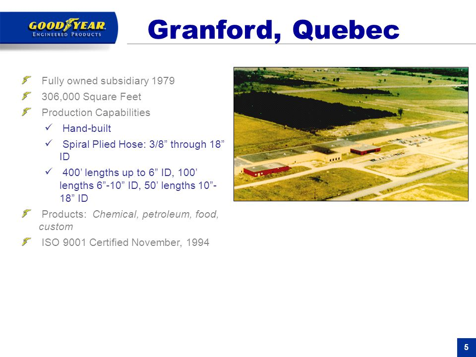 Granford, Quebec Fully owned subsidiary 1979 306,000 Square Feet