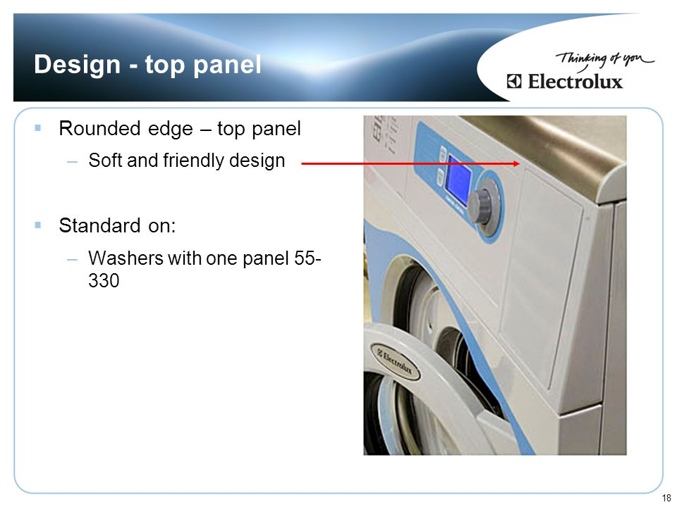 Design - top panel Rounded edge – top panel Standard on:
