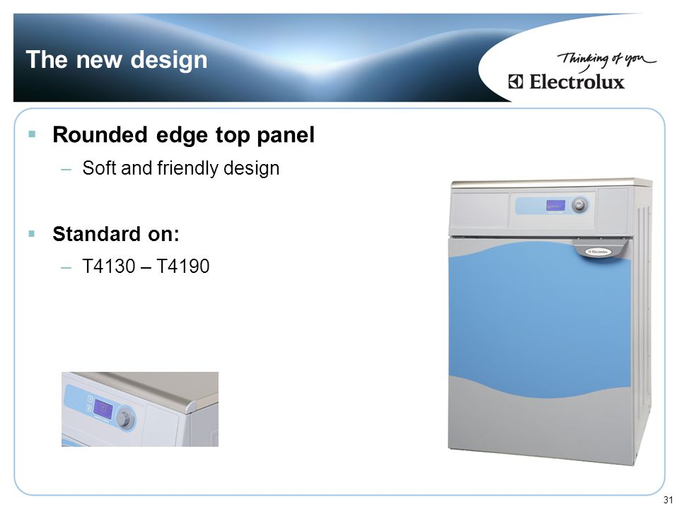 The new design Rounded edge top panel Standard on: