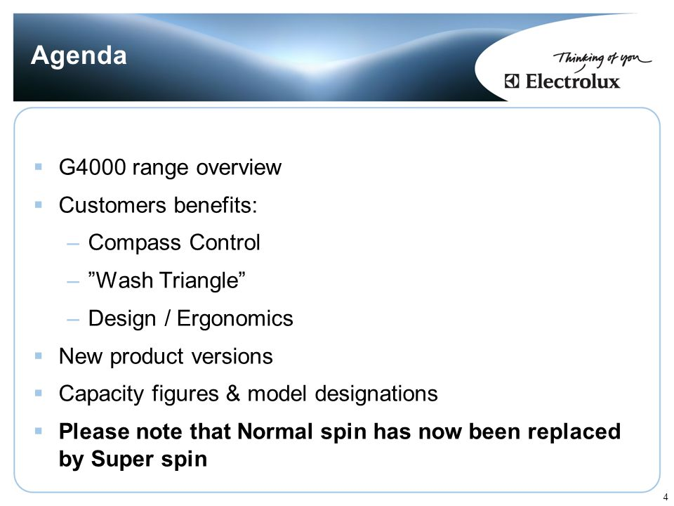 Agenda G4000 range overview Customers benefits: Compass Control