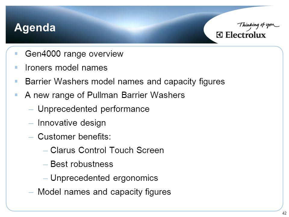 Agenda Gen4000 range overview Ironers model names