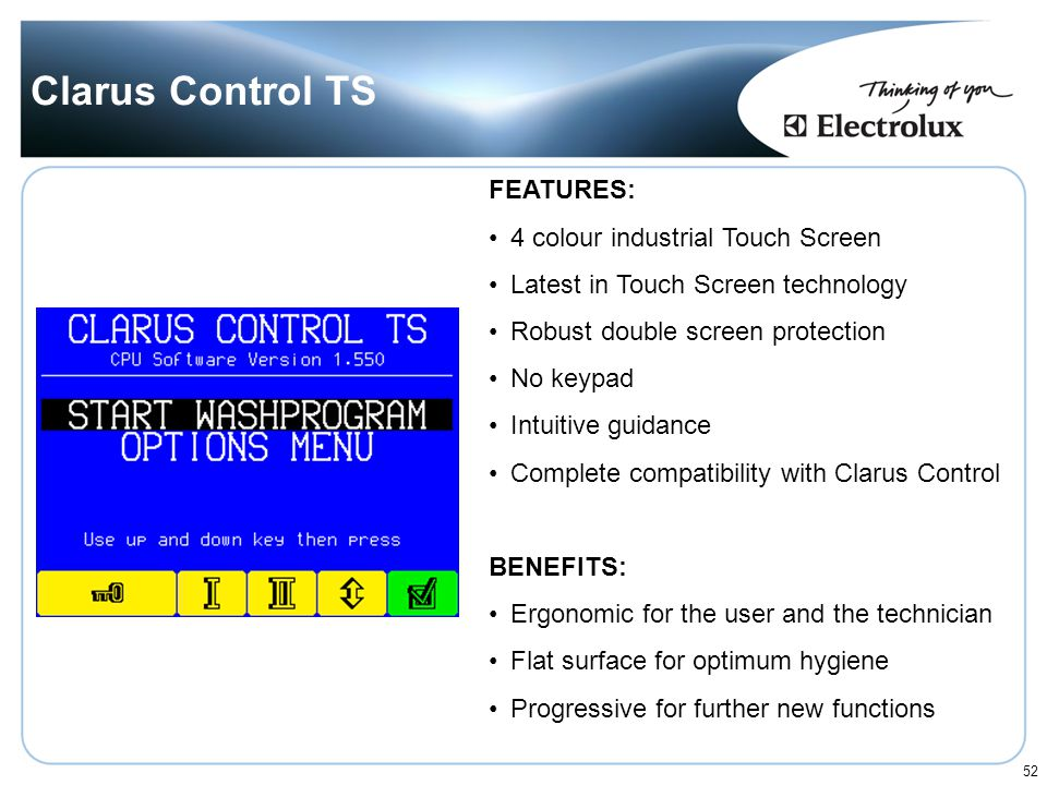 Clarus Control TS FEATURES: 4 colour industrial Touch Screen