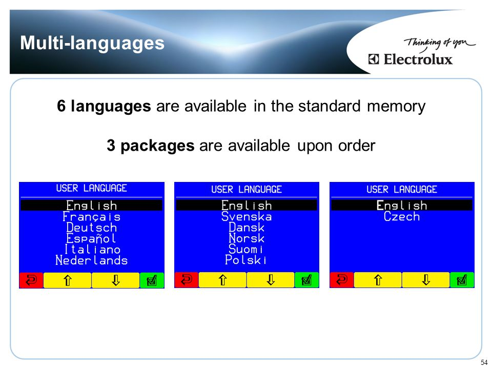Multi-languages 6 languages are available in the standard memory