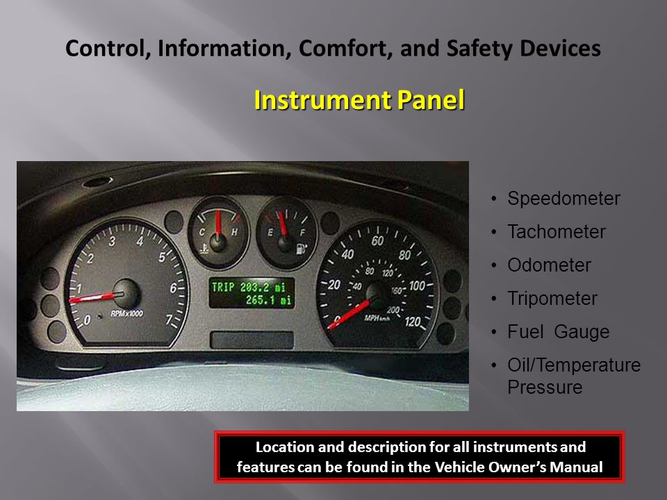 Control, Information, Comfort, and Safety Devices