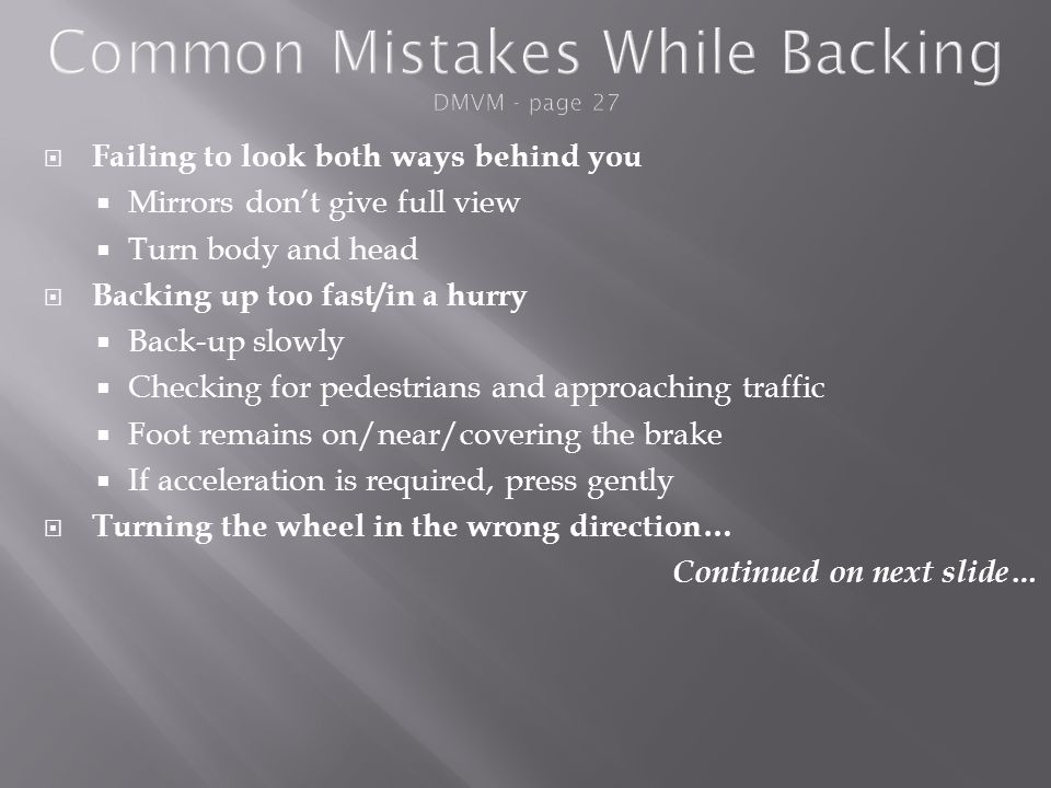 Common Mistakes While Backing DMVM - page 27