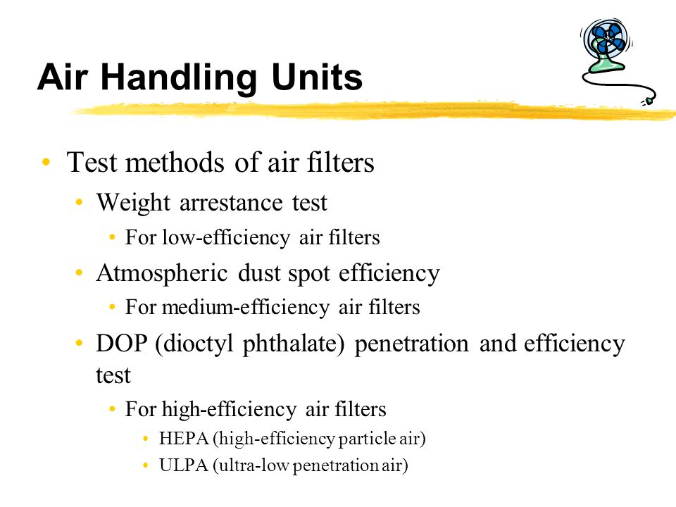 Air Handling Units Test methods of air filters Weight arrestance test
