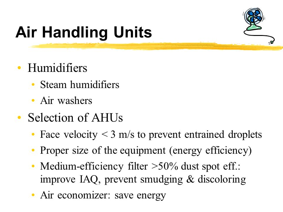 Air Handling Units Humidifiers Selection of AHUs Steam humidifiers