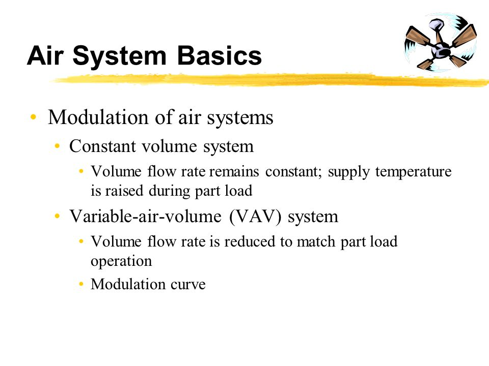 Air System Basics Modulation of air systems Constant volume system