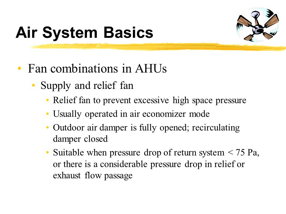 Air System Basics Fan combinations in AHUs Supply and relief fan